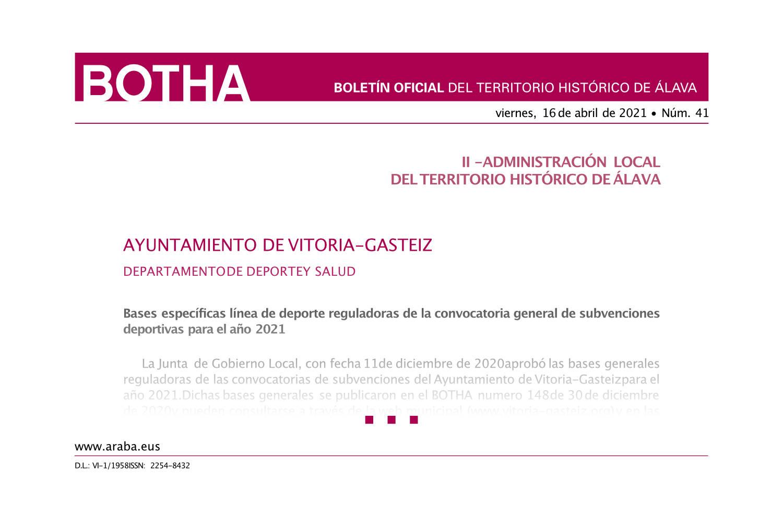 Imágen que muestra la portada del documento del BOTHA oficial, muestra solo parte del texto